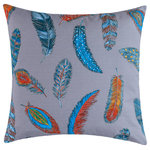 "Company C - Birds of a Feather Pillow, 22""x22"" - Fanciful feathers float in finely etched detail for this delightfully original pillow. Digitally reproduced from a hand-drawn sketch, the high-definition print stands out against a soft gray background of 100% cotton canvas. Double-sided design finished with a clean edge and hidden zipper. Down-feather insert. 22"" x 22"""