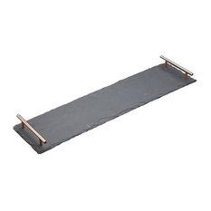 Artesa Slate Serving Platter With Copper Handles