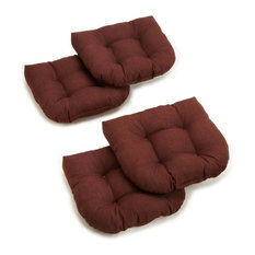 """19"""" U-Shaped Spun Polyester Outdoor Tufted Dining Chair Cushions, Set of 4, Brow"""