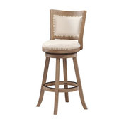 Boraam 24'' Melrose Counter Stool in Driftwood Wire-Brush and Ivory