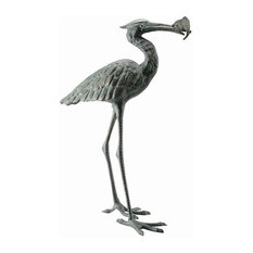 Crane Eating Fish Sculpture