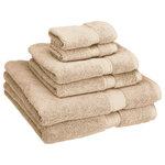 Superior - 900 GSM  Super Absorbent 6-Piece Cotton Bath Towel Set, Stone - Features: