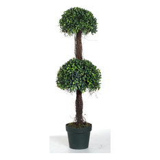 AB Home Two-Tier Potted Boxwood Topiary in Green Finish