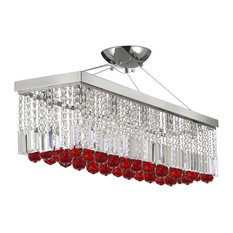 "40"" Rectangular Chandelier With Crystal Balls, Ruby Red"