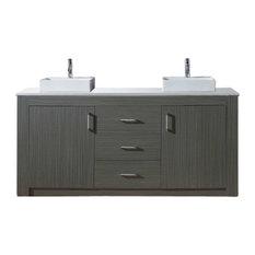 """Tavian 60"""" Double Bathroom Vanity Cabinet Set, Zebra Gray"""