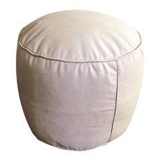Tabouret Design Moroccan Leather Pouf, Natural Tan, Un-Stuffed