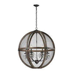 Renaissance Invention Wood and Wire Chandelier, Large