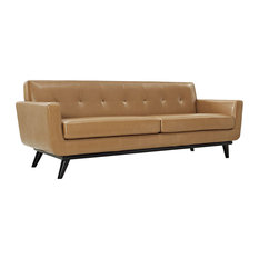 Upholstered Bonded Leather Sofa, Tan