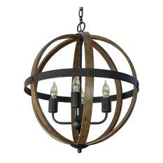 Mason Metal and Wood 4-Light Orb Pendant