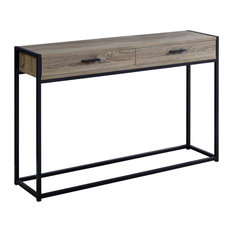 32-inch Mdf And Black Metal Accent Table Dark Taupeblack