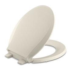 Kohler - Kohler Cachet Quiet-Close With Grip-Tight Round-Front Toilet Seat, Almond - Toilet Seats