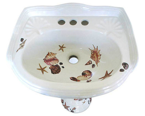 Delicieux Sea Shells Painted Pedestal Sink   Bathroom Sinks