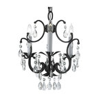 Wrought Iron Crystal Chandelier Country French 3-Light Ceiling