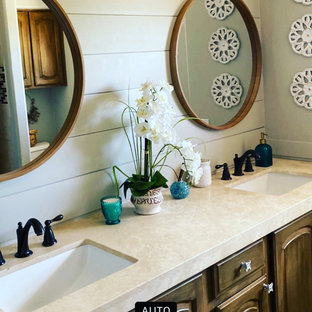 75 beautiful bathroom with distressed cabinets and tongue