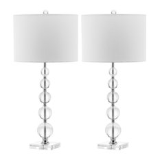 """Safavieh Liam Stacked Crystal Ball Lamps, 29""""H, Set of 2"""