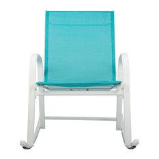 Patio Rocking Chair, White/Light Blue