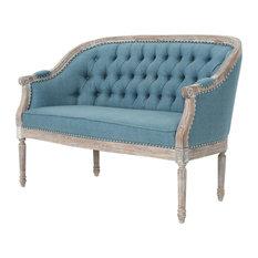 GDF Studio Megan Classical Fabric Tufted Loveseat, Blue