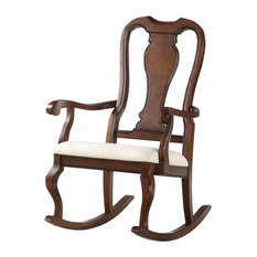 Acme Sheim Rocking Chair Beige Fabric And Cherry