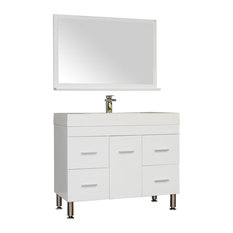 The Modern 39 inch Single Modern Bathroom Vanity in White without Mirror