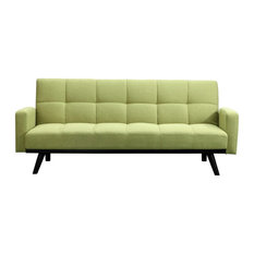 78-inch W Pullout Sofa Bed Square Tufted Green 100% Polyester Low Modern Styling