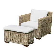 Kubu Rattan Sofa Chair With Footstool