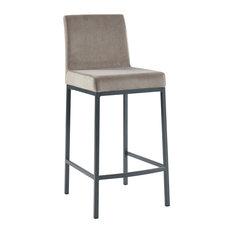 Velvet Counter Stools, Set of 2, Gray and Gray Legs