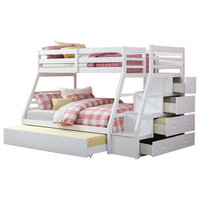 Rosebery Kids Twin over Full Bunk Bed with Storage Ladder and Trundle