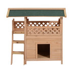 Pawhut 2-Story Indoor/Outdoor Wood Dog House Shelter With Roof