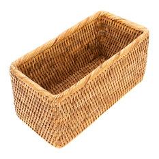 Artifacts Rattan Rectangular Basket, Honey Brown