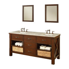 "Xtraordinary Spa 70"" Dark Brown Vanity, Top: Carrara Marble, With Mirror"