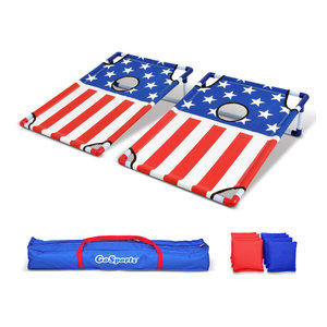 American Flag Portable PVC Framed Cornhole Game Set