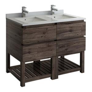 """Formosa 46"""" Floor Standing Open Bottom Double Sink Modern Bathroom Cabinet"""