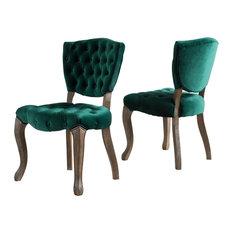 GDF Studio Elizabeth Tufted New Velvet Dining Chairs, Dark Green, Set of 2