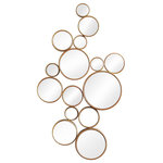 Cyan Design - Bubbles Mirror - Decorate a bare wall with the fun Bubbles Mirror. This unique piece is comprised of a cluster of various round mirrors with antiqued gold frames. Hang it above a sofa or dresser as an eye-catching focal piece.