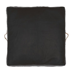 Leather Square Floor Pad, Black