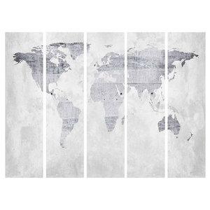 Modern Folding Room Divider With Wooden Frame and World Map Print Design