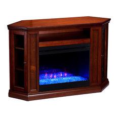 Charleston Color Changing Convertible Fireplace Brown Mahogany