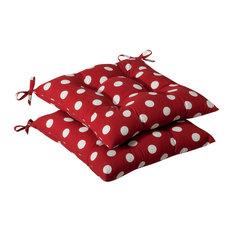 Polka Dot Wrought Iron Seat Cushion, Set of 2, Red