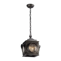 Main Street 2-Light Outdoor Pendant With Clear Pressed Glass, Aged Pewter