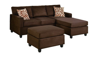 Reversible 3-Piece Sectional Sofa Set, Chocolate Microfiber