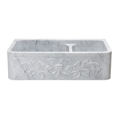 Double Bowl Farmhouse Sink With Floral Carving, Carrara White Marble, 60/40