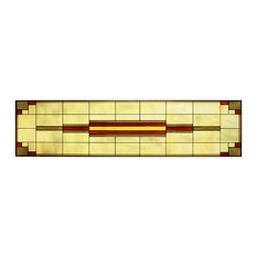 Arts and Crafts Tall Prairie Window Art Glass Panel 12 Horizontal