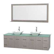 "Centra 80"" Gray Oak Double Vanity, Green Glass Top, Pyra White Porcelain Sinks"