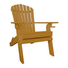 Poly Deluxe Folding 7-Slat Adirondack Chair, Cedar Stain