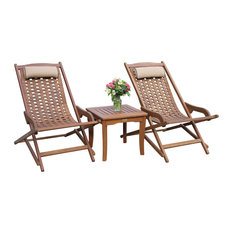 3 pc. Eucalyptus Swing Lounger Set with Square Accent Table