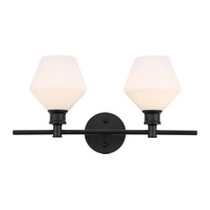 Black Finish And Frosted White Glass 2-Light Wall Sconce