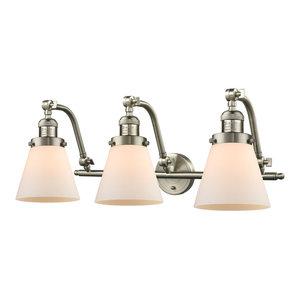 Small Cone 3 Light Bathroom Vanity Light in Brushed Satin Nickel