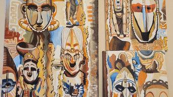 Tribal art on textured canvas