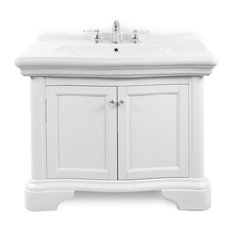 """Renaissance 40"""" Vanity Cabinet and Lavatory Top, White, White"""