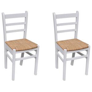 VidaXL Set of 2 Wooden Dinning Chairs, White